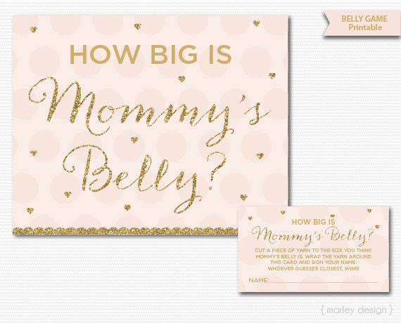 Mommyu0027s Belly Game Printable Baby Shower Games Pink Gold Glitter Baby Shower  Printables Guess Mommyu0027s Belly Size Mommyu0027s Waist Girl Baby