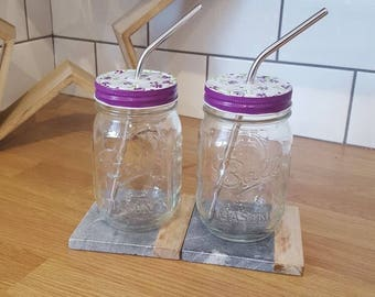 Pair of Ball Mason Drinking Glasses with Decorative Flowery Lid and Reusable Straw