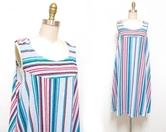 Vintage 1970s Sundress | Striped Terrycloth 1970s Dress | size large