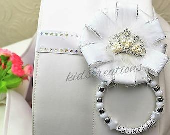 stunning magnetic pram charm corsage  in white  rhinestone