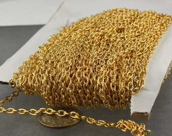 12 ft of Gold  finished Textured Cable Chain - 4X3mm unsoldered link