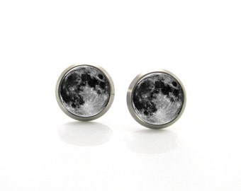 Titanium Stud Earrings Full moon stud earrings, Tiny stud earrings, Space jewelry, Moon earrings for sensitive ears, Mens earrings