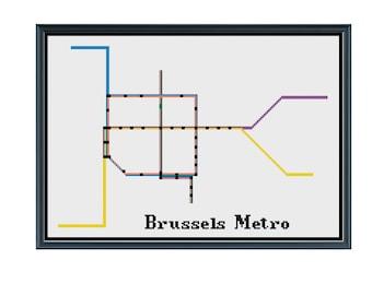 brussels metro cross stitch pattern belgium subway map pattern metro map pattern home decor pattern pdf instant download