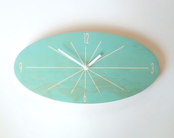 Objectify Light Teal Oval Classic Wall Clock