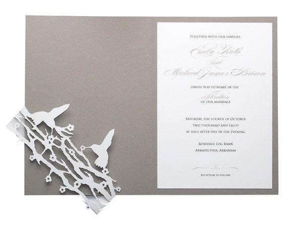 Hummingbird Wedding Invitations: Hummingbird Wedding Invitations Slate Gray Black And White