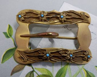 Gold Tone Art Nouveau Sash Pin or Brooch w/ Buckle Design    OCA53