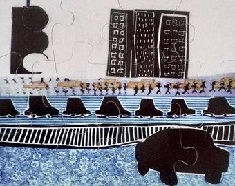 Art puzzle, kid's room decor, home decor, art wall