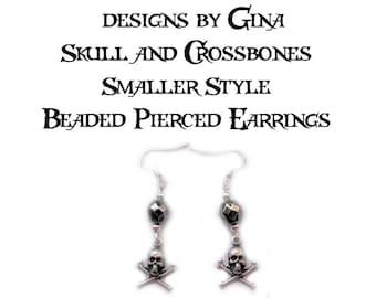 Skull and Crossbones Smaller Style Beaded Silver Tone Pierced Earrings DG0012E2 Handmade Original Designs by Gina Dangle Drop
