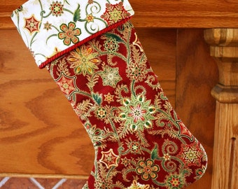Christmas Stocking Pattern PDF FREE Big Bow Pattern Victorian, Shabby Chic, Traditional Holiday Decoration - Instant Download - Handmade