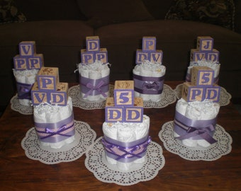 Pink and Purple Baby Blocks Shower Centerpieces Diaper cakes other sizes and colors too