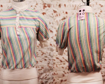 Vintage 1970 80s XS / small pastel candy rainbow zebra stripe gum patterned top / shirt / blouse / short sleeved sweater