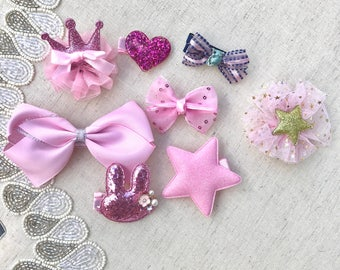 Baby Girl Pink Hair Clips / Set of 8 Hair Clips / Baby Girl Bow hair clip Set / Star Hair Clip / Glitter Hair Clip / Baby Girl Hair Clip Set