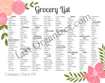 Grocery List, Category Check Off  Printable Instant Digital Download  Horizontal--Updated