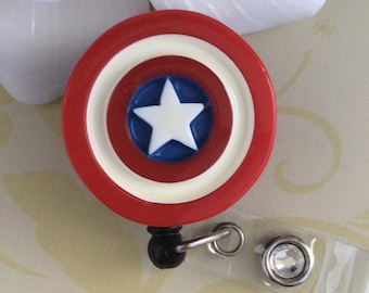 Captain America Shield Retractable ID Badge Reel, Nurse Badge Reel