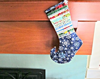 Blue Christmas Stocking, Upcycled Christmas Stocking, Selvage, Snowflake Stocking, Christmas Stocking, Elf Toe Christmas Stocking