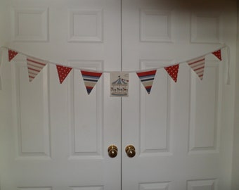 Fairground Bunting 54 inches long ( 138 cms.) 9 Flags Made From Prestigious Textiles -a Top Quality Furnishing Fabric.