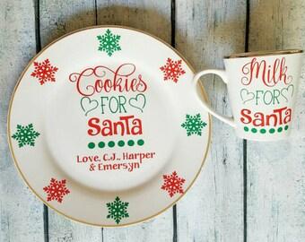 Santa Cookie Plate Set Cookies for Santa Milk for Santa Cookies for Santa Plate personalized Santa plate Christmas eve cookie plate & Personalized Santa Cookie Plate and Milk Set Kids Christmas