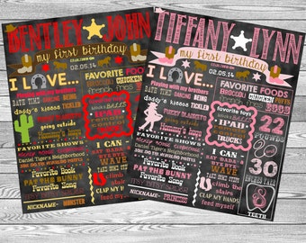 """Cowboy & Cowgirl Birthday Stat """"Chalk board"""" (Digital Poster)- ANY COLORS"""
