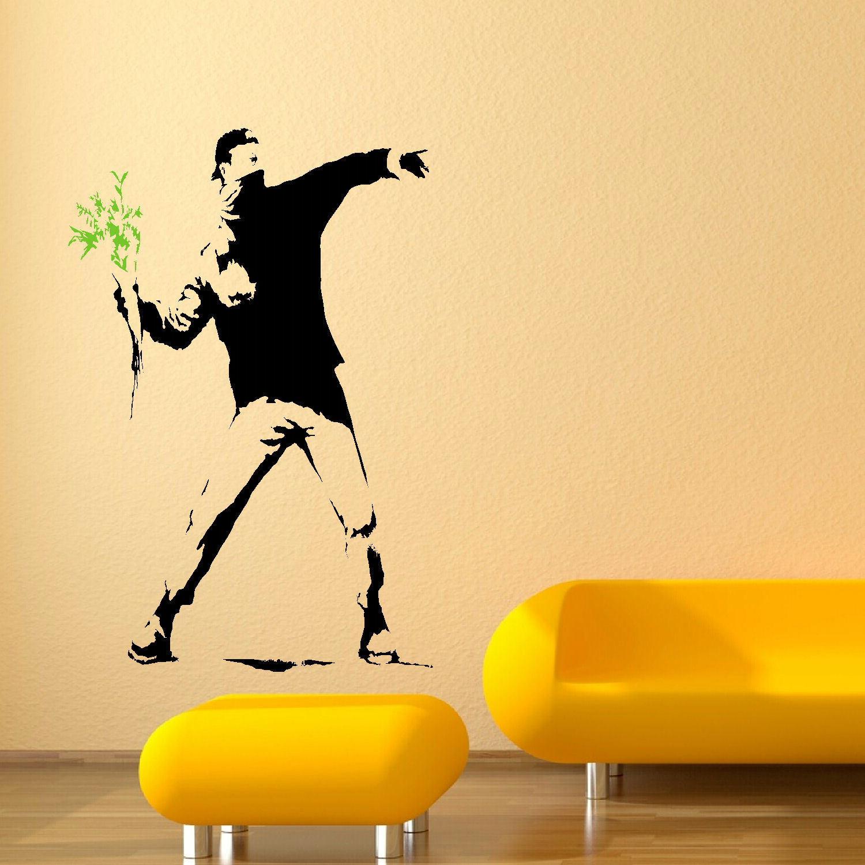 Extra Large Banksy Man Riot Flower Wall Mural Art Sticker