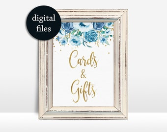 Cards Gifts Sign Printable Floral Cards and Gifts Wedding sign Wedding Table Sign Blue shower sign table decor 5x7in, Party decor sign
