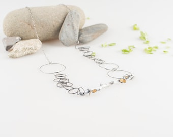Natural Inspiration /Long necklace of silver /Contemporary Jewelery  /Jewelery /Unique Piece /Single piece necklace /