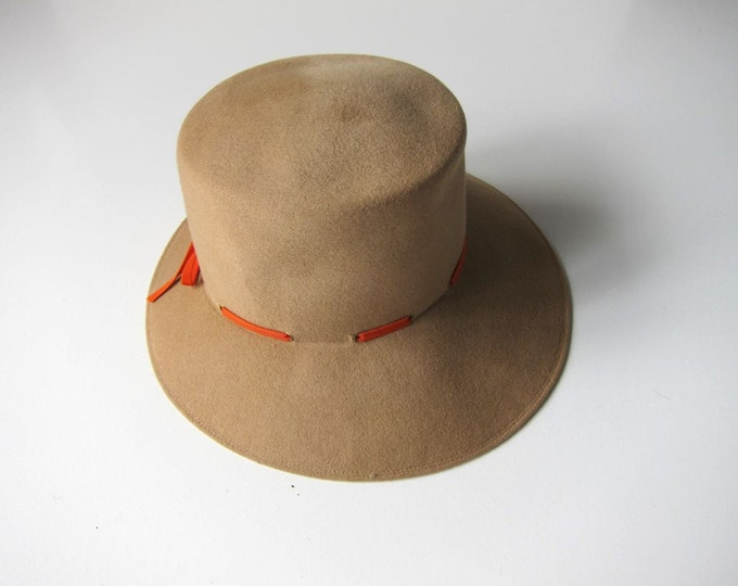 70s Camel Tan Felted Wool Hat | Henry Pollak Wide Brim Hat Boho Prairie Hat 60s Floppy Brim Brown Wool Hat Womens M/L
