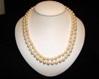 Lovely Vintage Cultured Pearl Multi Strand Choker Necklace