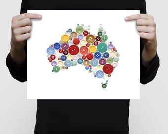 map of Australia print - aussie buttons - fun art for kids room, children's room decor, playroom decor, nursery wall art, nursery map poster