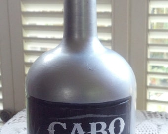Cabo Wabo Tequila Hand Painted Empty Glass Liquor Bottle
