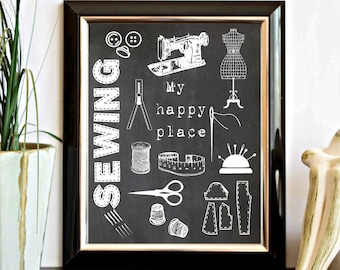 My Happy Place Quote Printable Sign - Sewing / Craft Room Wall Decor - Chalkboard Sewing Quote Poster - Sewing Items Print - Digital Artwork