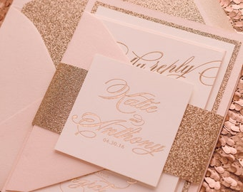 Foil Stamping - Fancy Blush and Rose Gold Glitter - SAMPLE (FAITH)
