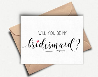 Will you be my Bridesmaid Card, Bridesmaid Proposal, Bridesmaid Invitation, Wedding Party Card, Bridal Party Card, Bridal Party Invite