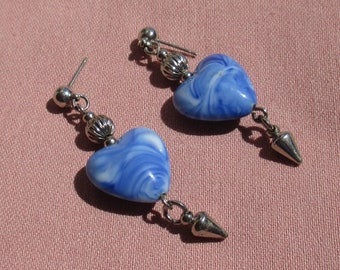 Vintage Heart Shaped Blue White Swirled Dangling Pierced Earrings