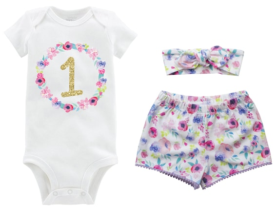 First Birthday Gold Glitter Pastel Outfit Shorts Headband Watercolor Floral Birthday Onesie Monogram Summer Shorts Pom Pom Shorts Outfit