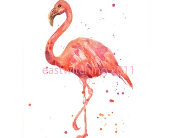 Flamingo Print, HAITIAN HELPERS FUND, pink flamingo, flamingo art, uk, uk shop