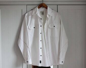 Vintage Big Star Jeans Shirt Men Original White Denim Sport Shirt Brand Long Sleeve Size Large