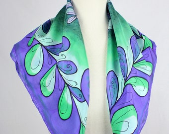 Square silk scarf Ultra violet scarf design hand Painted floral fashion Color 2018 fashion accessory Violet gift for Amiga