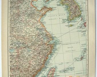 East China & Korea: Original 1896 Map by Velhagen and Klasing. Antique