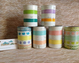 Rustic Pastel Stripped  Tin Can