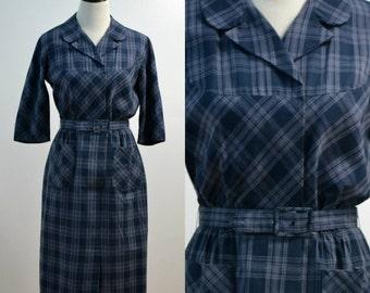 Vintage vtg 60s 1960s Herman Marcus Navy Blue Shirt Dress Day Dress Pencil Skirt Collared Dress Belted Women's Clothing Medium M