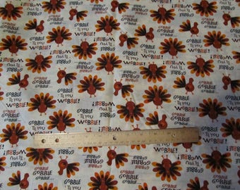 Cream Gobble til you Wobble Thanksgiving Turkey Cotton Fabric by the Half Yard