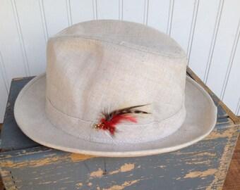 Vintage Tweed Fedora Hat by Adam - Size 7 1/2 Cream Colored