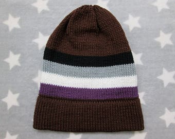 Knit Pride Hat - Ace Pride - Brown Slouchy Beanie - Acrylic