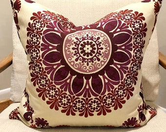 Plum, Cranberry and Beige Medallion Pillow Cover / Designer Upholstery Fabric / Handmade Home Decor Accent Pillow