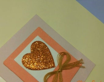 Handmade Greetings Card with Glittery Gold Heart and Kraft Bow: Yellow, Orange, Gold