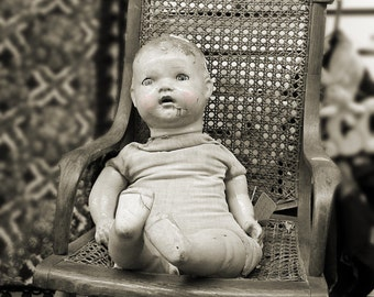 Photo Print Scary Old Dolls Baby Doll Vintage Toys