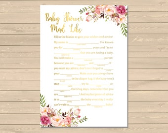 Gold Boho Mad Libs Printable Activity, Floral Mad Libs Printable Activity, Gold Boho Baby Shower, Gold DIY Mad Libs, Instant Download, 025-G