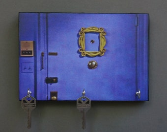 "Key Holder ""FRiENDS"" TV Show Key Holder Wood Mounted Wall Art. Rachel Ross Phoebe Chandler Monica Joey. 2 Sizes Available"