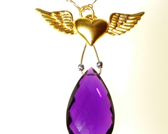 DELICATE AMETHYST and GOLD Vermeil Winged Heart Pendant