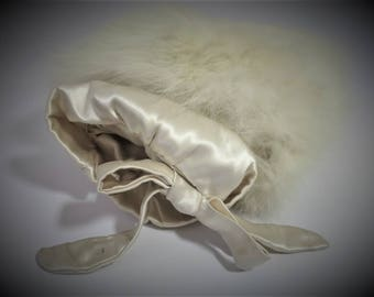 1960's - 1970's White Fur Muff with Satin Lining /  Wedding Muff / Winter Formal / Hand Warmer